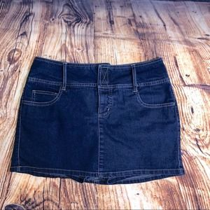 Blue Jean Skirt over shorts